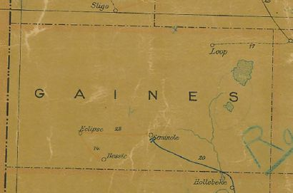 Gaines CountyT exas 1907Postal map showing Seminole