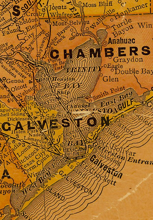 TX - Galveston Bay 1920s map
