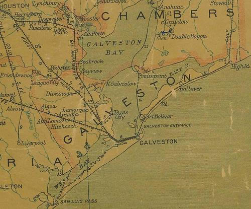 TX Galveston County  1907 Postal Map