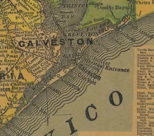 TX  Galveston County 1940s Map