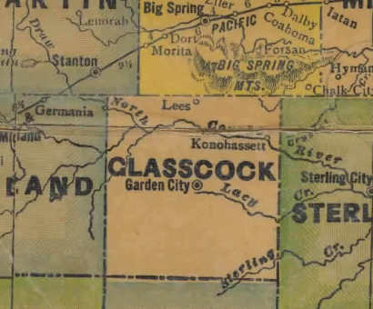 Glasscock County Texas 1940s map