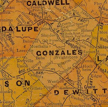 1930s Gonzales County Texas map