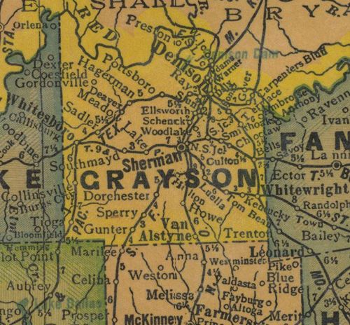 Grayson County Texas 1940s  old map