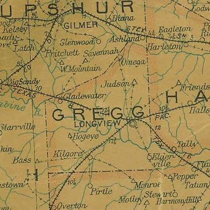 Gregg  County TX 1907 postal map
