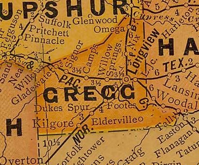 Gregg County TX 1920s Map