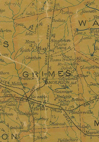 TX Grimes County 1907 postal map