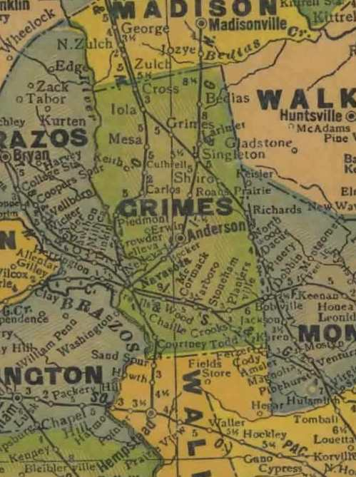 TX Grimes County 1940s Map