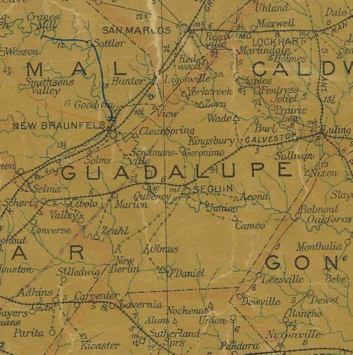 TX Guadalupe County 1907 postal map