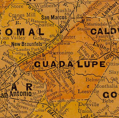 TX Guadalupe County 1920s map