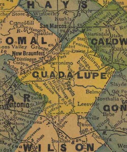 TX Guadalupe County 1940s Map