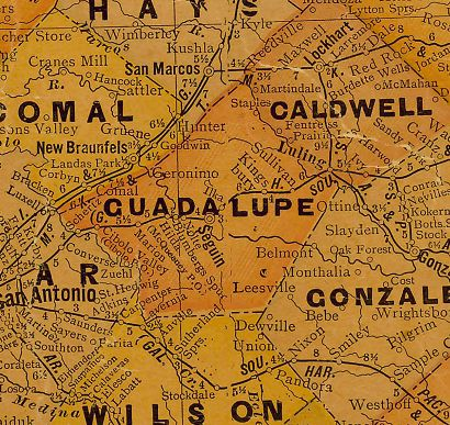 Guadalupe County Texas 1920s map