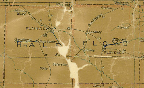 Hale and Floyd County Texas 1907 Postal map