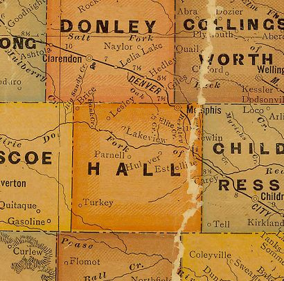 Hall County Texas 1920s Map