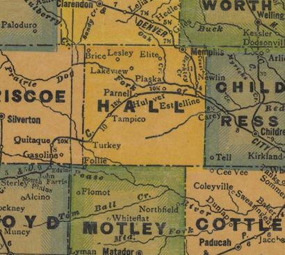 Hall County Texas 1940s old map