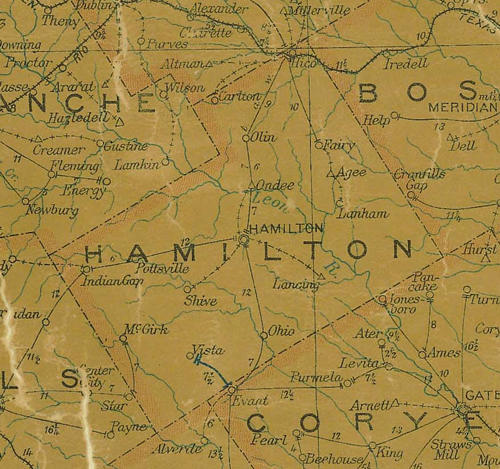 TX Hamilton County 1907 Postal Map