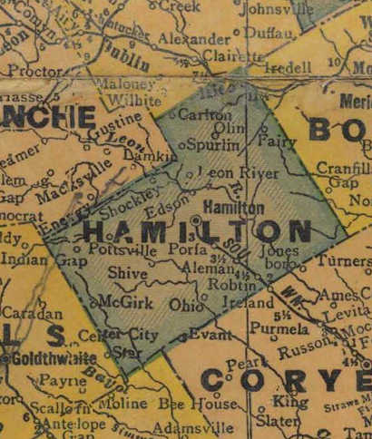 TX Hamilton County 1940s Map
