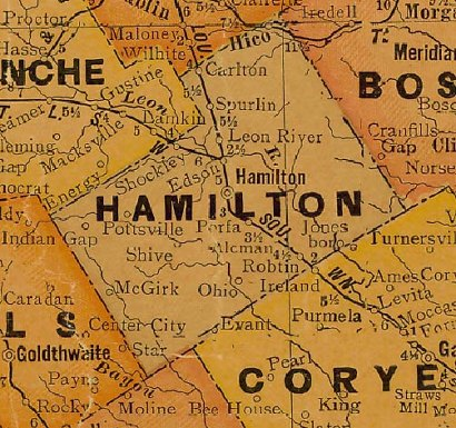 Hamilton County Texas 1920s map