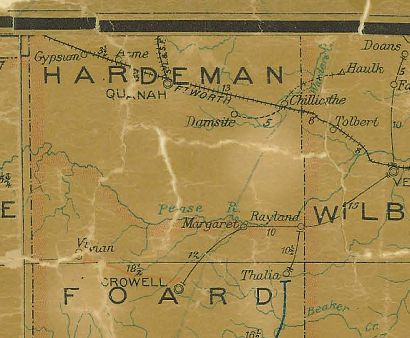 TX Hardeman County 1907 Postal Map