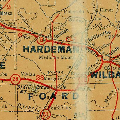 TX Hardeman County 1930s Map
