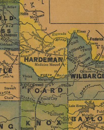 TX Hardeman County 1940s Map