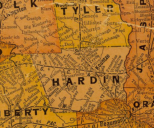 Hardin County TX 1920s map