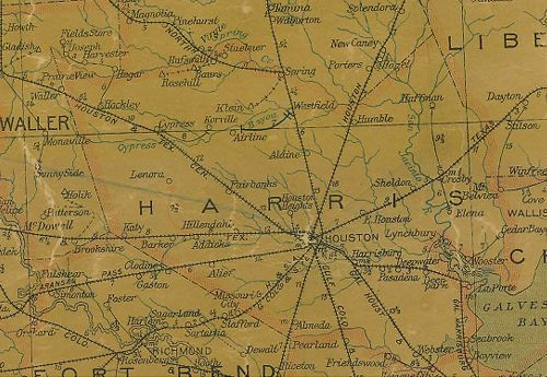 TX Harria County  1907 Postal Map