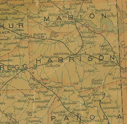Harrison County Texas 1907 Postal map