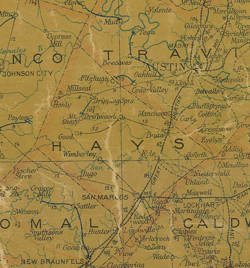TX Hays  County 1907 Postal Map