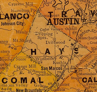 Hays County TX 1920s Map