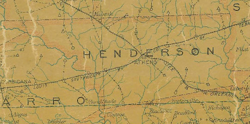 Henderson County Texas 1907 Postal map
