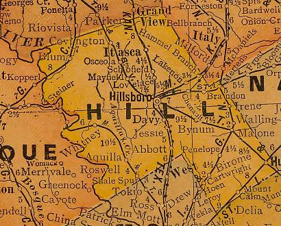 Hill County TX 1920 Map