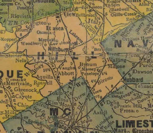 TX Hill County 1940s Map