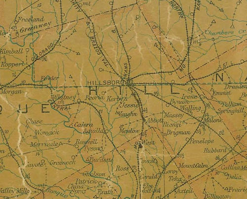 Hill County Texas 1907 Postal map