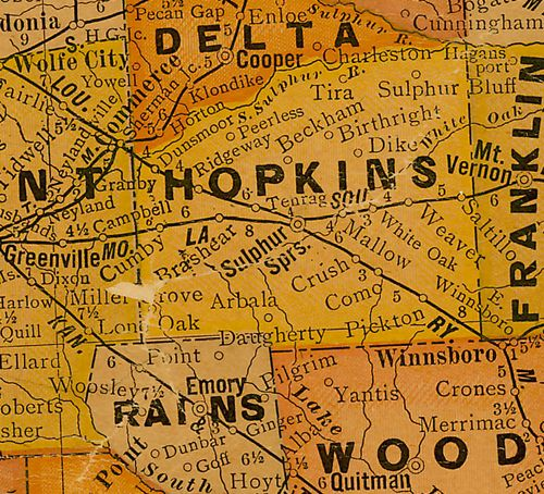 TX Hopkins County 1920s Map