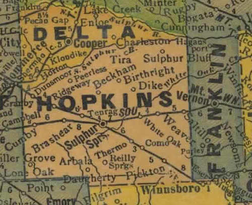Texas 1940s Hopkins County Map