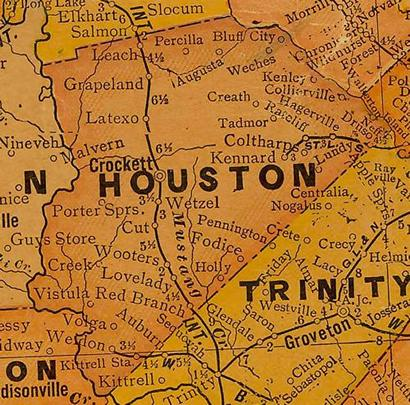 Houston County Texas 1920s map