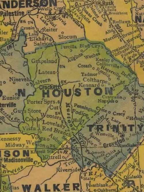Houston County Texas 1940s map