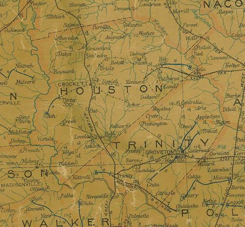 Houston County Texas  1907 postal map