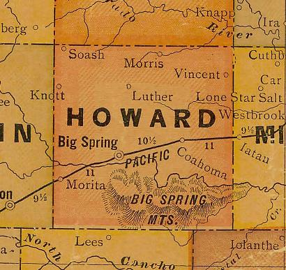 TX - 1920s Howard County map
