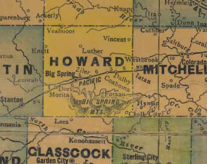 Howard County Texas 1940s Map