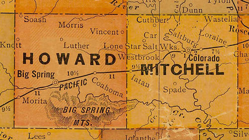 Howard & Mitchell  County TX 1920s map