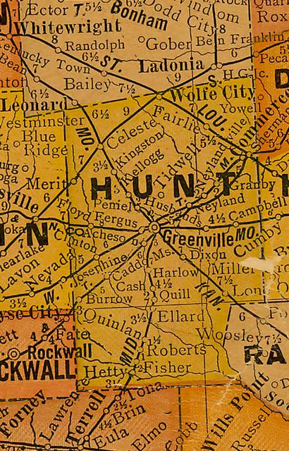 TX Hunt County 1920s Map