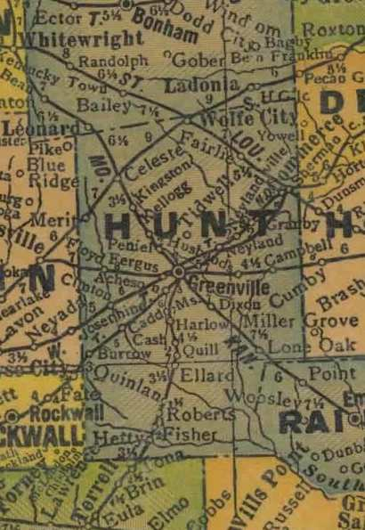 TX  Hunt County 1940s Map