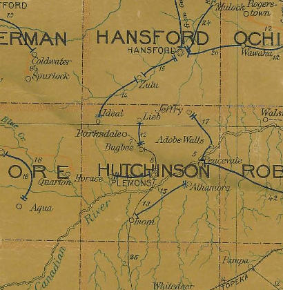 Hutchinson County Texas 1907 postal map