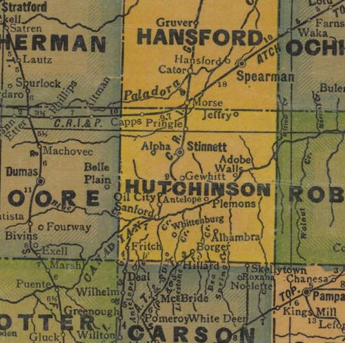 Hutchinson County Texas 1940s vintage map