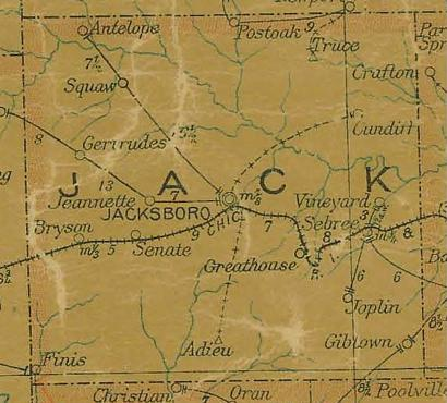 Jack County TX 1907 Postal Map