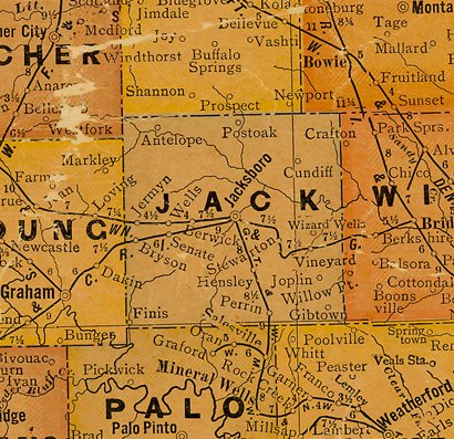 TX Jack County Texas 1920s map
