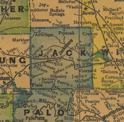 TX Jack County Texas 1940s map