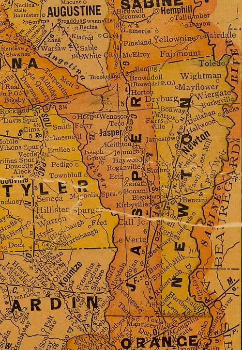 Jasper Newton County TX 1920s map