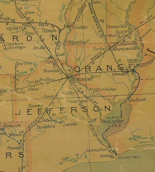 TX - Jefferson County 1907 postal map